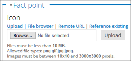 Browse, File browser, Remote URL, and Reference existing.