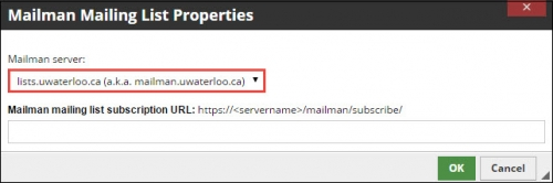 Mailman server field filled with lists.uwaterloo.ca.