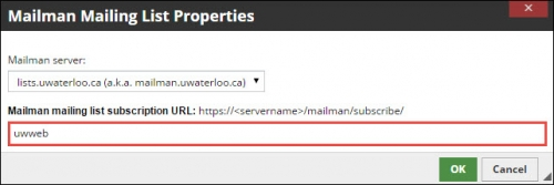 """Subscription URL field filled with """"uwweb""""."""