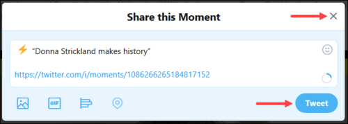 Screenshot of option to share or close the Share this Moment window.