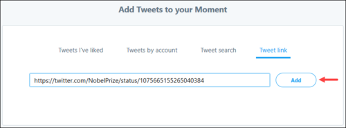 Screenshot of a Tweet's URL, with the option to add it to a Moment using the checkmark icon.