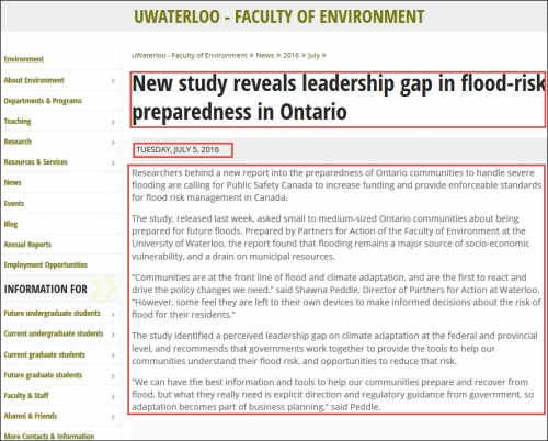 Screenshot of a news item on Faculty of Environment website. Page title, date and body content sections are highlighted.