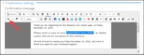 Screenshot of the Confirmation message field, with the link text and Link button in the toolbar highlighted.