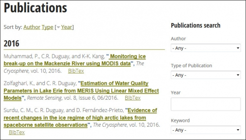 Publications listing page.