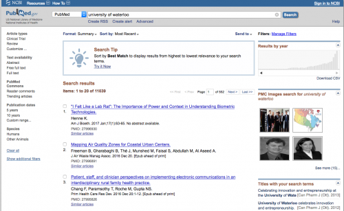 Searching for publications from PubMed site