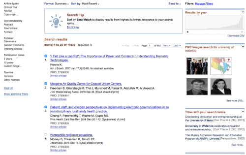 Selecting publications to export from PubMed site