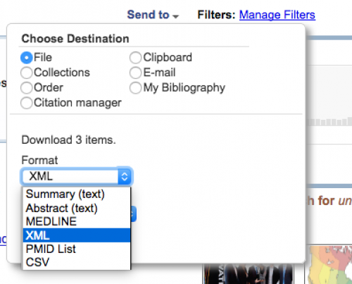 Setting export options from PubMed site