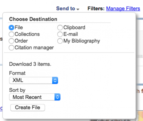 Clicking on Create File on PubMed site