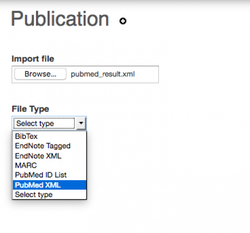 Selecting file type to PubMed XML for importing on UWaterloo Scholar