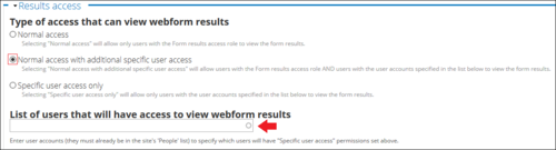 normal results access with additional specific user access