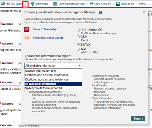 Selecting export options from Scopus site