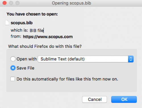 Saving exported file from Scopus