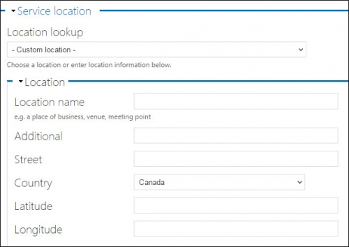Service location fields.