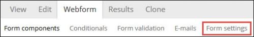 Form settings tab.