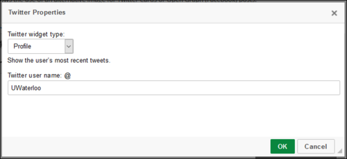 Screenshot of Twitter Properties window, with username UWaterloo.