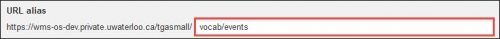 """""""vocab/events"""" entered in the URL alias field."""