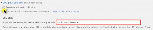 """""""zoology-conference"""" entered in the URL alias field."""