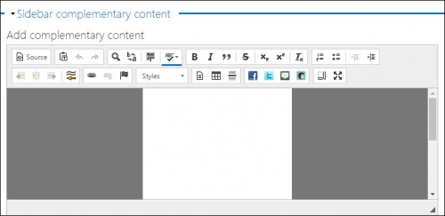 Sidebar complementary content field.