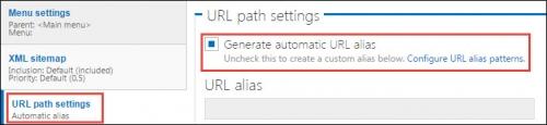 URL path settings.