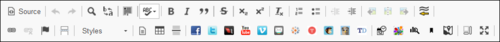 Screenshot of functionality available in the WYSIWYG toolbar.