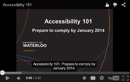 YouTube video - Accessibility 101