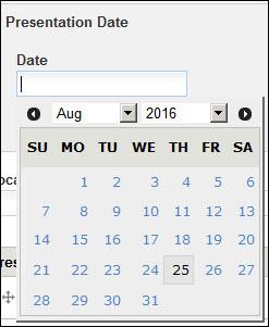 Add presentation date field.