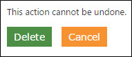 The action cannot be undone, delete or cancel buttons.