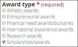 Award type field.