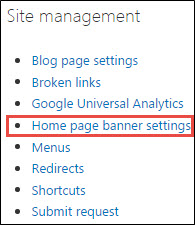 Homepage banner settings under Site management menu.