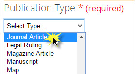 Journal Article selected in Publication Type field.