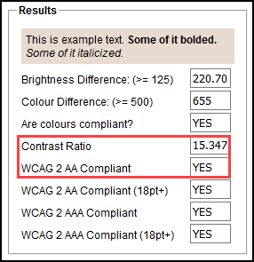 Screenshot of the Contrast Ratio and WCAG 2 AA Compliant fields.
