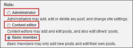 Select Administrator, Content editor or Basic member.