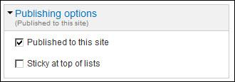 Publishing settings.
