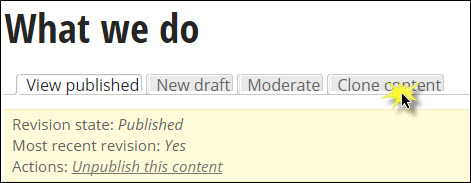 Selecting the clone content tab.