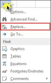 Selecting the Replace function.