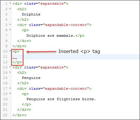 Enter paragraph tag after closing div tag.