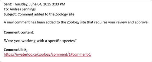 Site Manager email notification of new comment on Blog post.