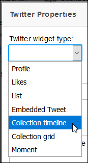 Screenshot of Twitter widget type drop-down menu, and Collection timeline highlighted.