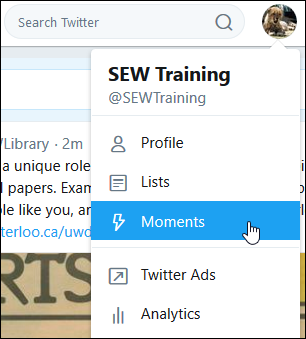 Screenshot of drop-down, with Moments tab highlighted.
