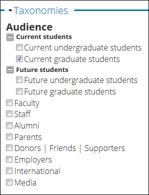 Current graduate students option checked in Audience taxonomy.
