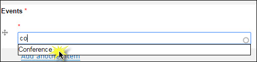 Choosing tags from the autocomplete field.