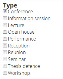 Conference option checked in Event type taxonomy.