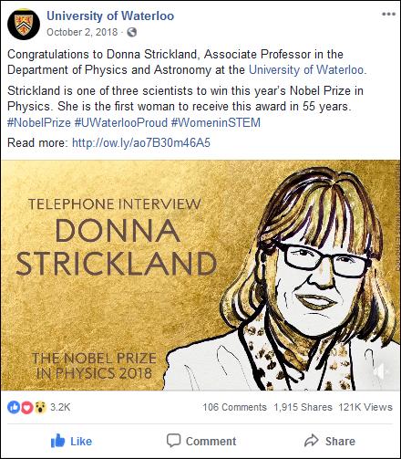 Screenshot of a sample Facebook post.