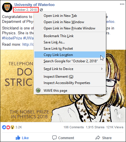 Screenshot of a Facebook single post, with the date highlighted, smaller menu appearing, and Copy Link Location selected.