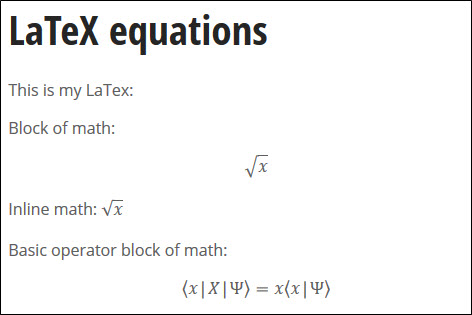 LaTeX equations displaying correctly in the WCMS.