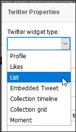 Screenshot of Twitter widget type drop-down menu, and List highlighted.