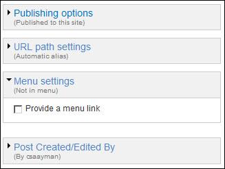 URL menu settings.