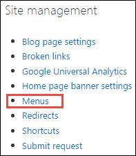 Menus under Site management.