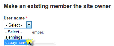 Selecting a different site member to be the site owner.