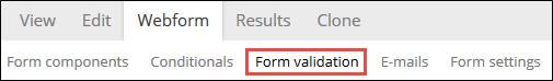 Form validation sub-tab.